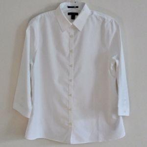 Lands' End Crisp White No Iron 3/4 Sleeve Shirt